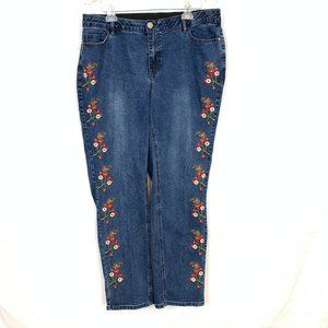 Catherines EMBROIDERED Blue Jeans Size 18W